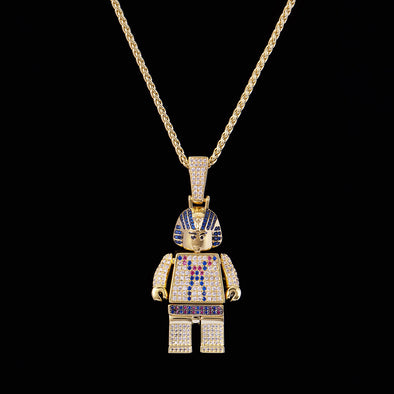 14K Gold Iced Pharaoh Block Pendant