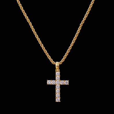[Only Ship to US] 14K Gold Iced Mini Tennis Cross