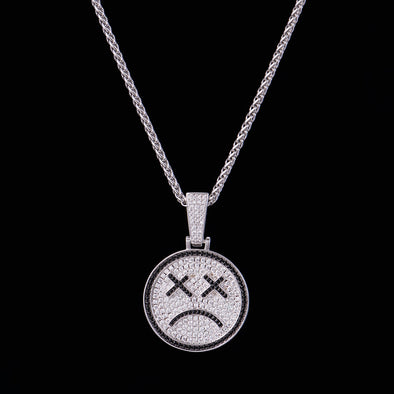 White Gold Iced Sad Face Tattoo Emoji Pendant