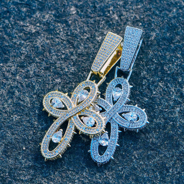 Iced Thorns Infinity Cross 2-Piece Pendant Set