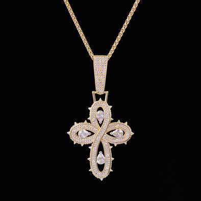 Iced Thorns Infinity Cross Pendant