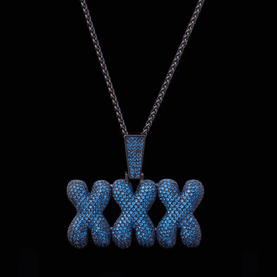 Black Gold Iced Triple X Pendant With Blue Gems