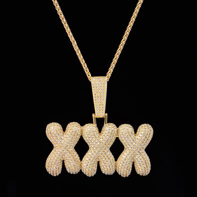 14K Gold Iced Triple X Pendant