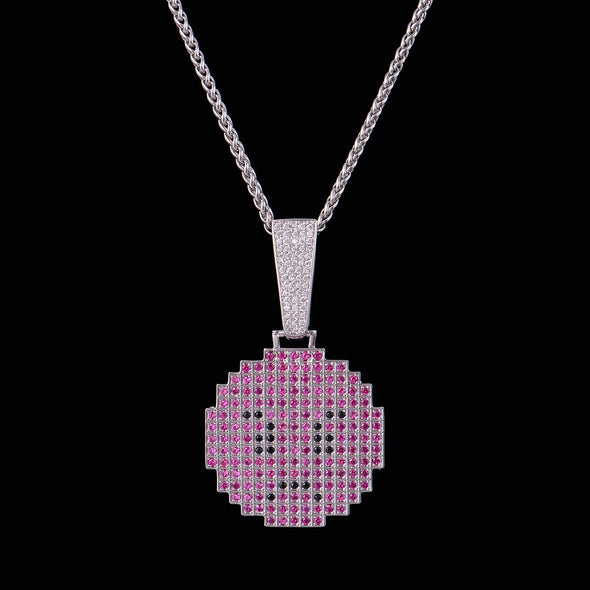 White Gold Iced Angry Pixel Emoji Pendant