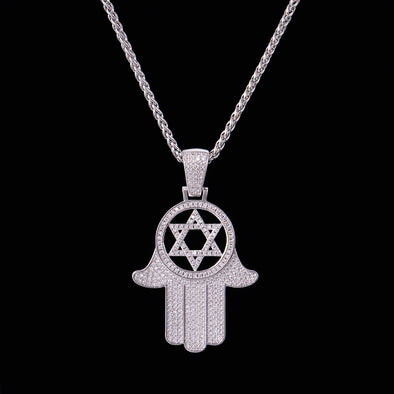 Iced Hamsa Hand and Hexagram Pendant