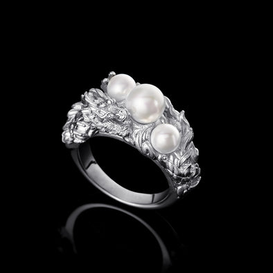 WONG –White Gold Dragon Pearl Ring