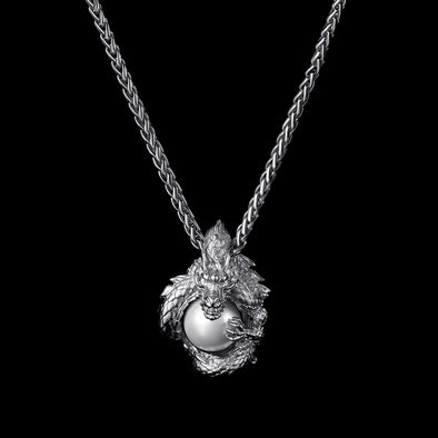 WONG–White Gold Coiled Dragon Pearl Pendant