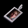 925 Sterling Silver White Gold Iced Custom Rectangular Photo Pendant