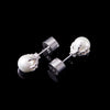 WONG–White Gold Dragon Pearl Stud Earrings