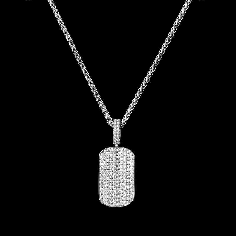 White Gold Iced Custom Dog Tag Necklace