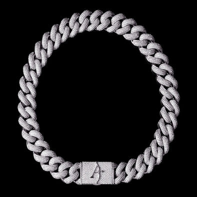 19mm White Gold 4-Row Gems Iced Cuban Link Chain