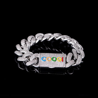 "APORRO X COOGI 19mm White Gold ""BASIC"" Cuban Bracelet"