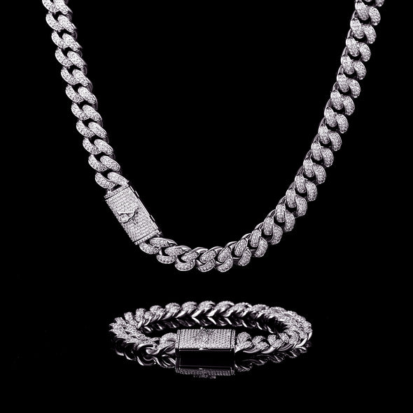 12mm White Gold Iced Cuban Chain And Bracelet Set