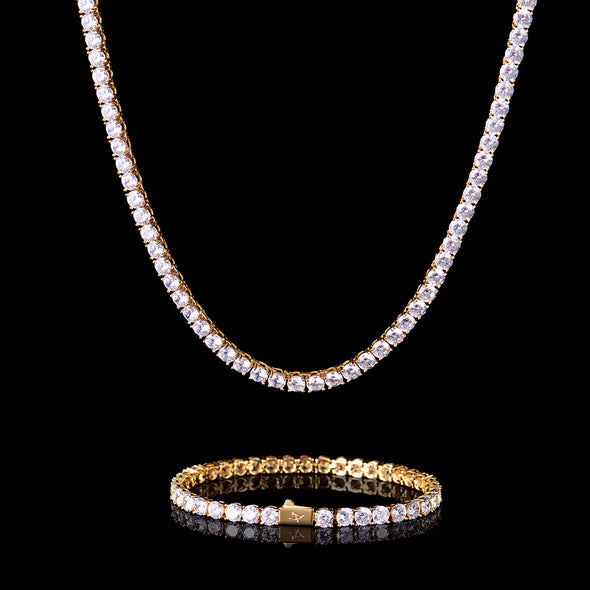 5mm 14K Gold Tennis Chain and Bracelet Set