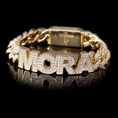 12mm 14k Gold Iced Name Custom Cuban Bracelet