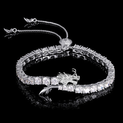 WONG-White Gold Iced Adjustable Dragon Tennis Bracelet