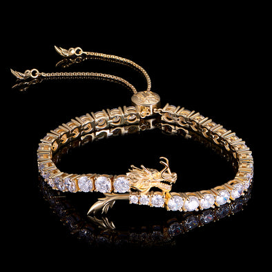 WONG-14k Gold Iced Adjustable Dra gon Tennis Bracelet