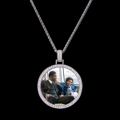 925 Sterling Silver White Gold Iced Custom Photo Pendant