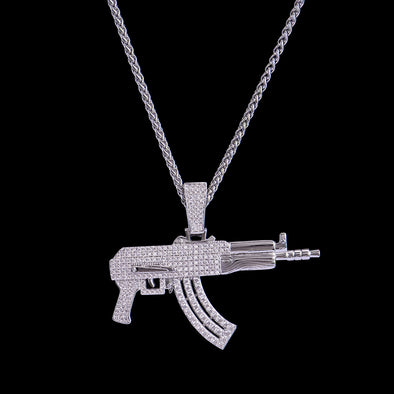 White Gold Iced AK-47 Rifle Pendant