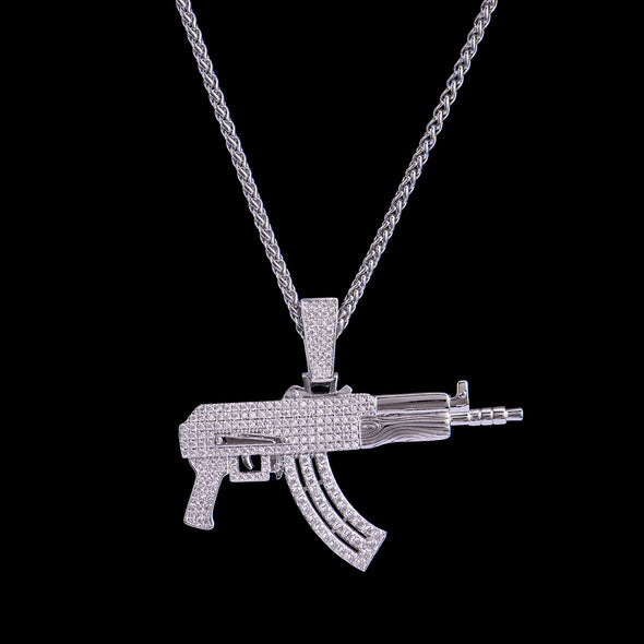 White Gold Iced AK-47 Rifle