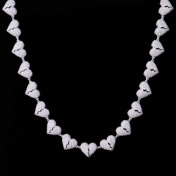 White Gold Iced Broken Heart Chain
