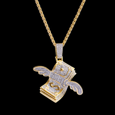 14K Gold Flying Dollar Bill Emoji Pendant