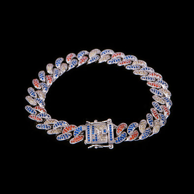 10mm Multi-Colored Iced Cuban Link Bracelet With Blue Stones