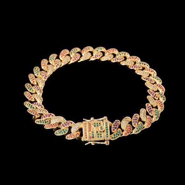 10mm Multi-Colored Iced Cuban Link Bracelet with Green Stones