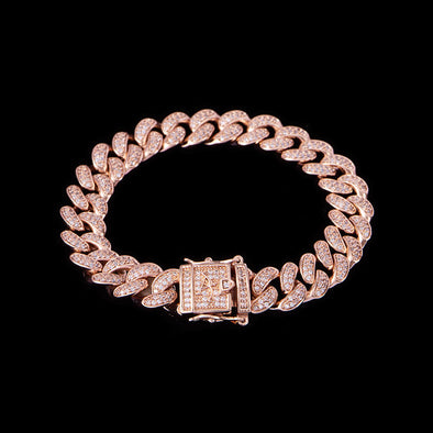 10mm Rose Gold Iced Cuban Link Bracelet
