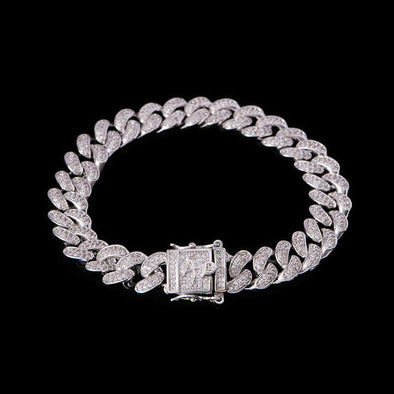 10mm White Gold Iced Cuban link Bracelet