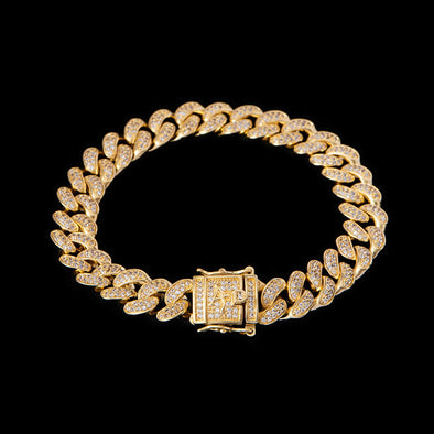 10mm 14K Gold Iced Cuban Link Bracelet 7''