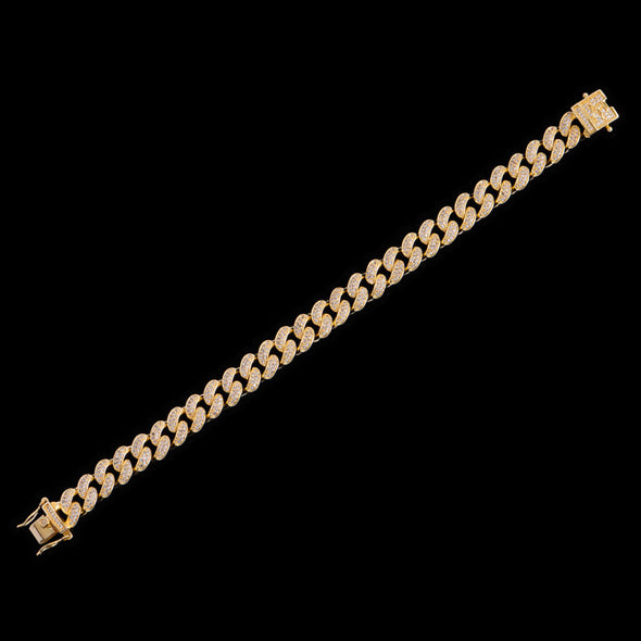 10mm 14K Gold Iced Cuban Anklet