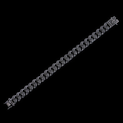 12mm Black  Iced Cuban Link Anklet