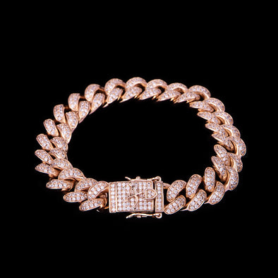 12mm Rose Gold Iced Cuban Link Bracelet 8''