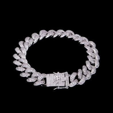 12mm White Gold Iced Cuban Bracelet 7""