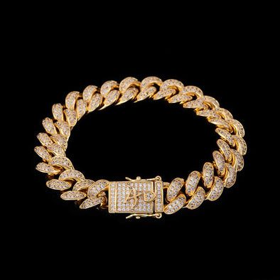 12mm 14K Gold Iced Cuban Bracelet
