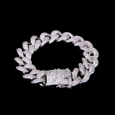 15mm White Gold Iced Cuban Bracelet 9''