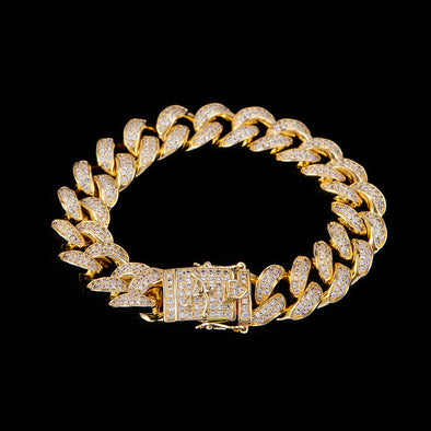 15mm 14K Gold Iced Cuban Link Bracelet
