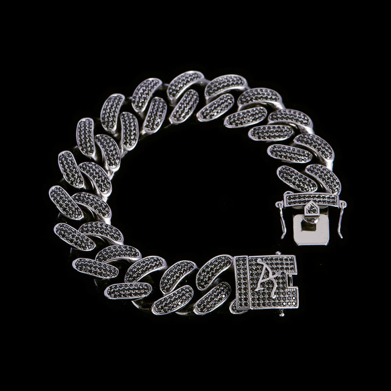 19mm Black Iced Cuban Link Bracelet