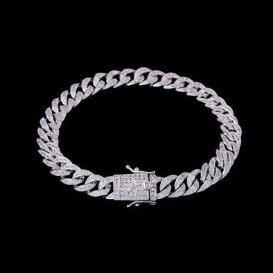 8mm White Gold Iced Cuban Link Bracelet