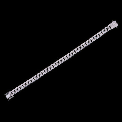 8mm White Gold Iced Women Cuban Anklet