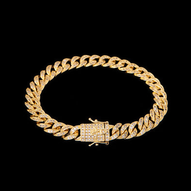 8mm 14K Gold Iced Cuban Link Bracelet