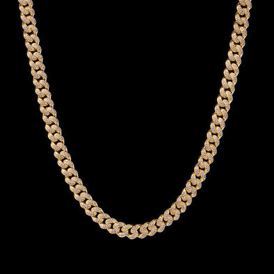 10mm 14K Gold Iced Cuban Link Chain 15''