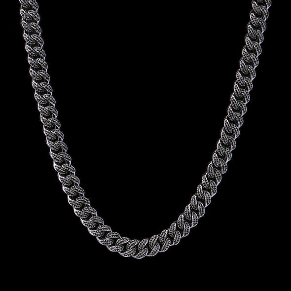 12mm Black Iced Cuban Link Chain