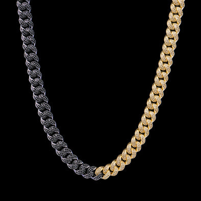 12mm 14k Gold & Black Iced Cuban Link Chain