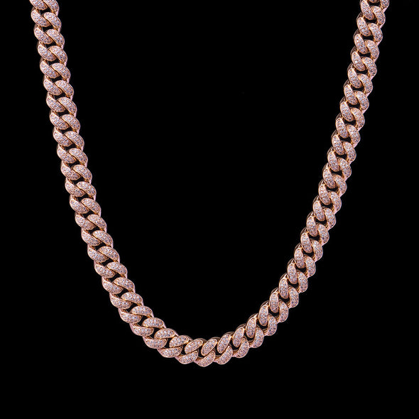 12mm Rose Gold Iced Women Cuban Link Chain