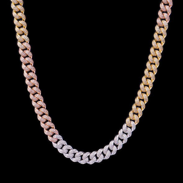 12mm Tri-Colored Iced Cuban Link Chain 24''