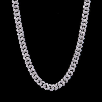 12mm White Gold Iced Cuban Link Chain 30''