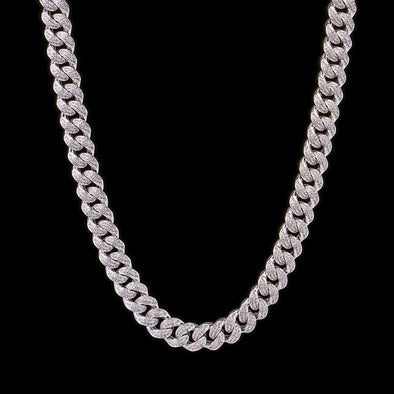 15mm White Gold Iced Cuban Link Chain