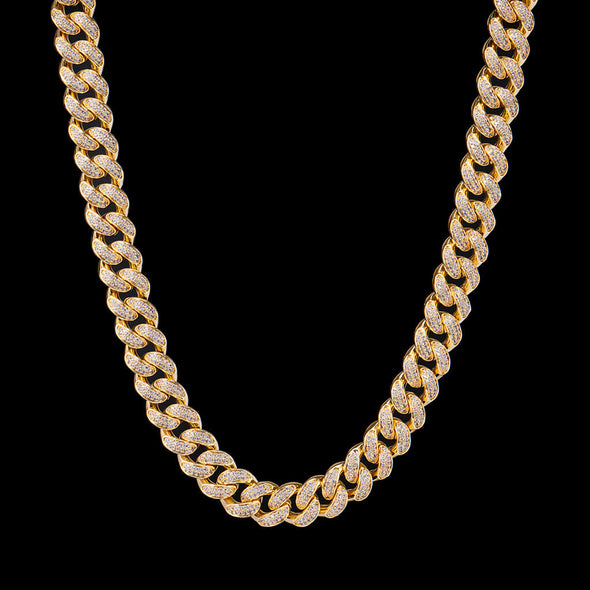 15mm 14K Gold Iced Cuban Link Chain